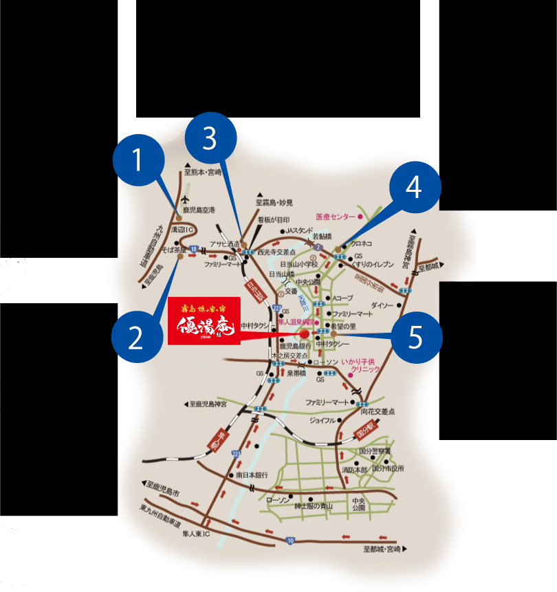 霧島隠れ宿「優湯庵」周辺MAP